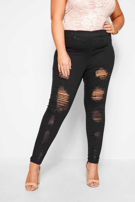 Jeggings Grande Taille Black Extreme Distressed JENNY Jeggings