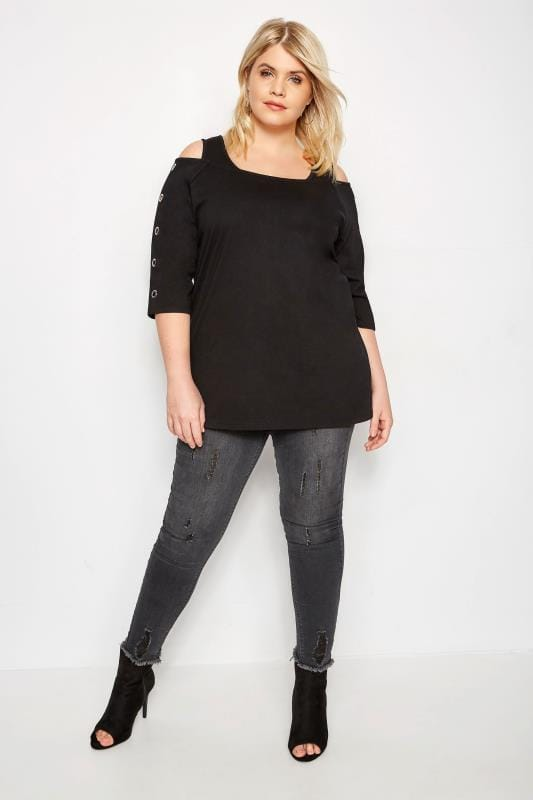 Black Eyelet Bardot Top
