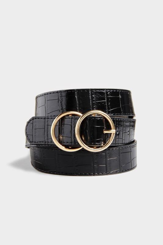 Black Faux Croc Double Circle Belt
