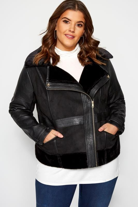 Plus Size Jackets Black Faux Fur Aviator Jacket