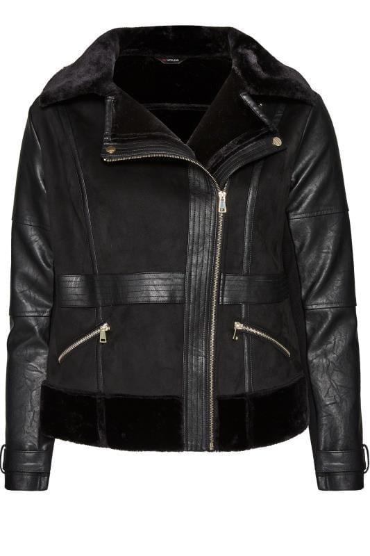 Black Faux Fur Aviator Jacket