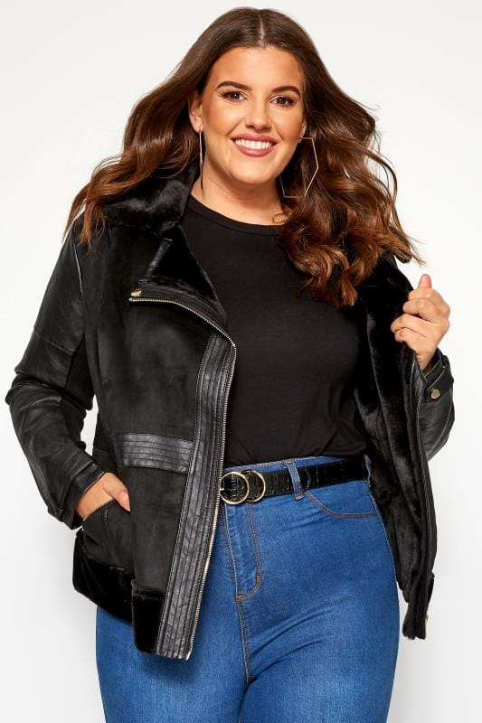 Black Faux Fur Aviator Jacket