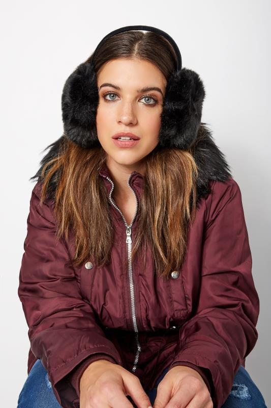 Plus Size Hats Black Faux Fur Ear Muffs