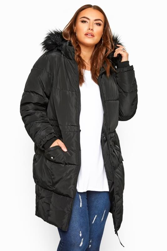 Plus Size Puffer & Quilted Jackets Black Faux Fur Trim Long Puffer Coat