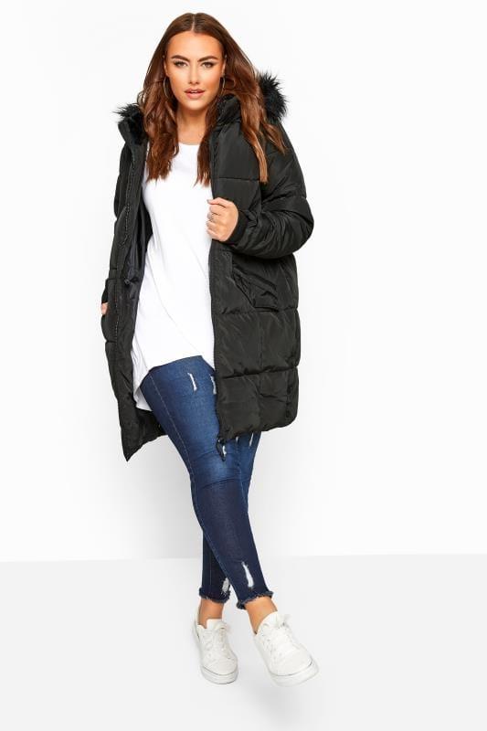 Black Faux Fur Trim Long Puffer Coat