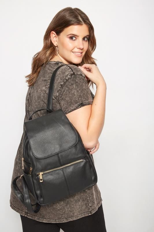 Bags & Purses Black Faux Leather Backpack