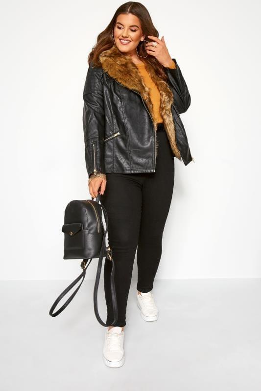 Black Faux Leather & Fur Jacket