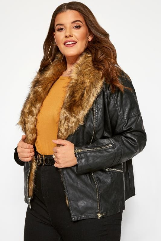 Leather Look Jackets dla puszystych Black Faux Leather & Fur Jacket