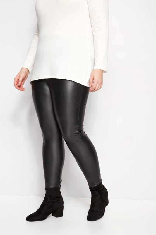 Plus Size Fashion Leggings Black Faux Leather Leggings