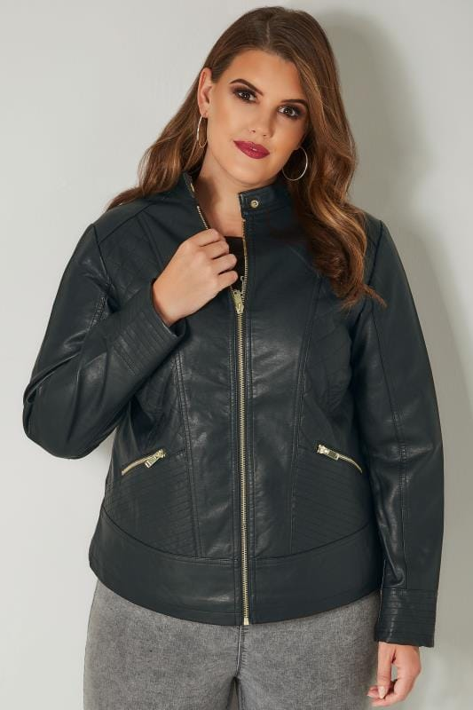 Black Faux Leather Quilted Jacket Plus Size 16 To 36