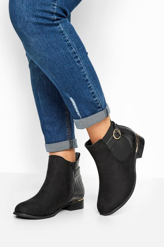 Wide Fit Ankle Boots Black Faux Suede Croc Effect Chelsea Boots In Extra Wide Fit