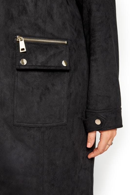 Black Faux Suede Duster Jacket