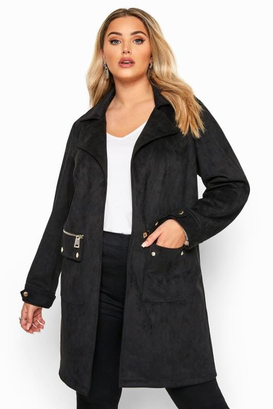 Black Vegan Suede Duster Jacket