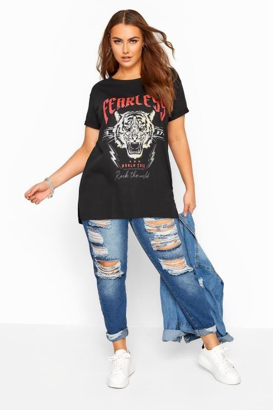 Black 'Fearless' Slogan Tiger Print Top