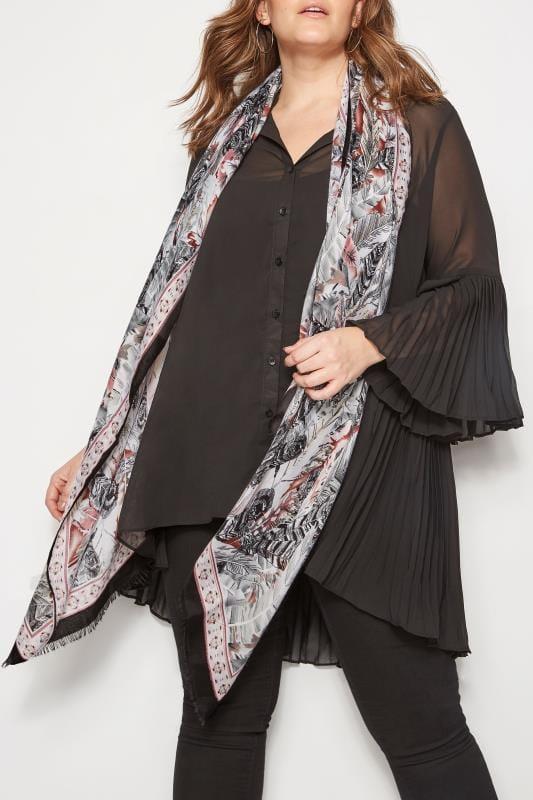 Große Größen Schals Schwarzer Schal mit Federprint