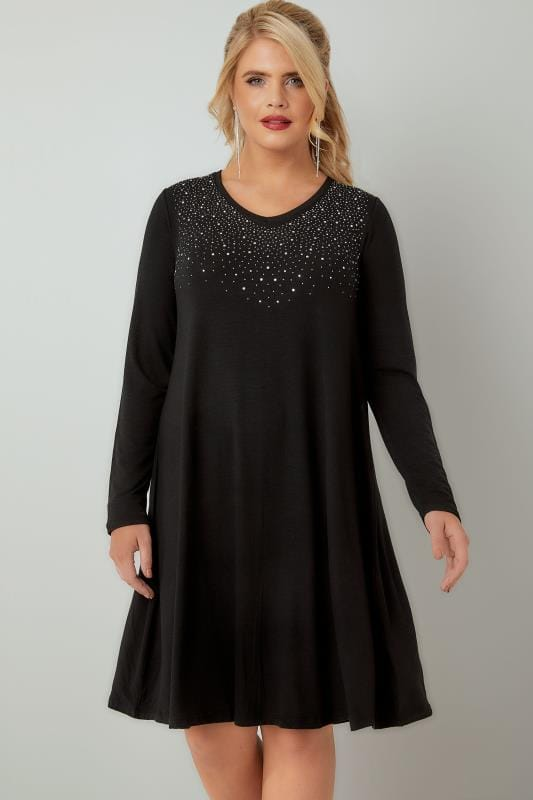 Black Fine Knit Swing Dress With Embellished Front, Plus ...