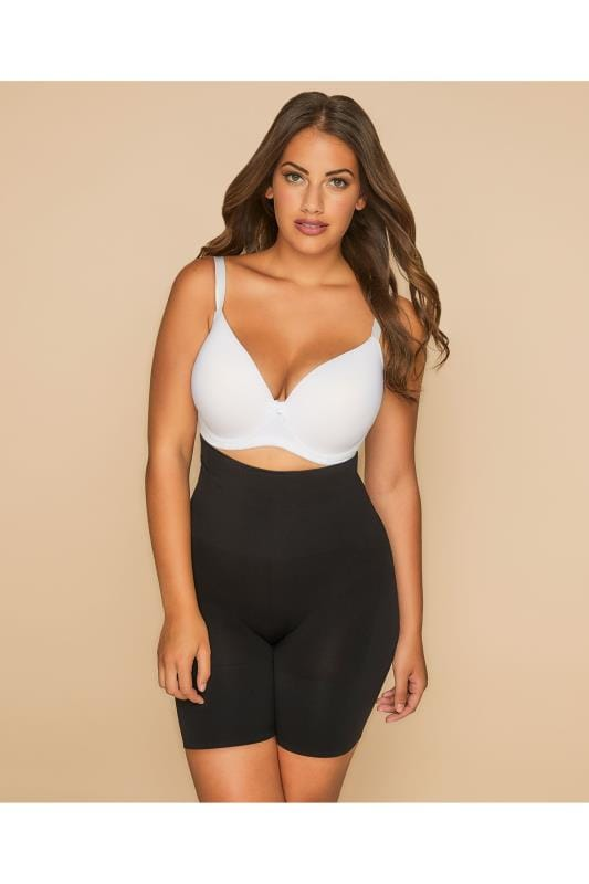 Большие размеры | Plus Size Shapewear Black Firm Control Seamfree Shaper Short