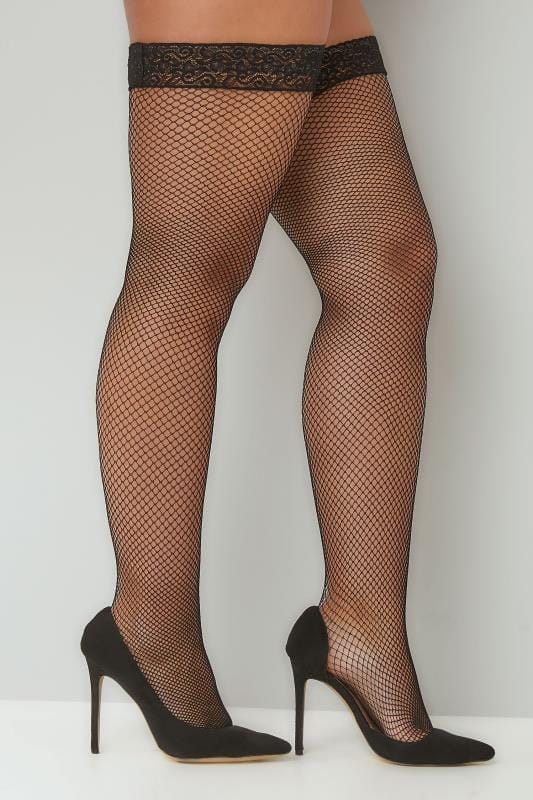 Plus-Größen Plus Size Stockings & Hold Ups Black Fish Net Stocking With Lace Trim