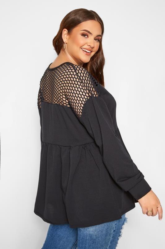 Black Fishnet Peplum Sweatshirt