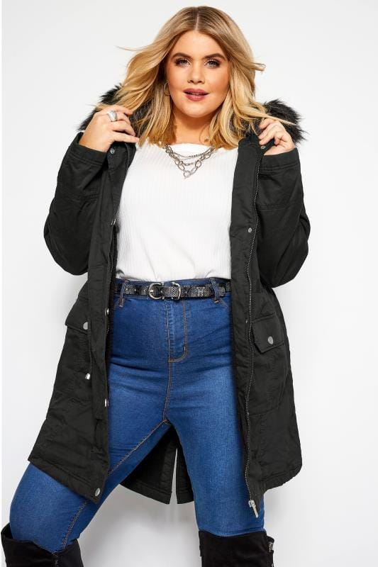 Plus Size Parkas Black Fleece Lined Faux Fur Hooded Parka