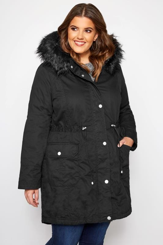 Plus Size Parka Coats Black Fleece Lined Faux Fur Hooded Parka