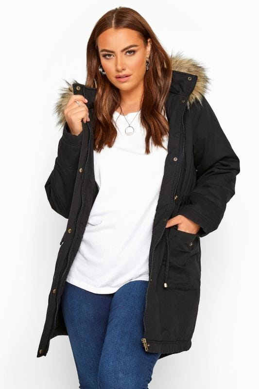 Plus Size Jackets Black Fleece Lined Faux Fur Trim Parka Jacket