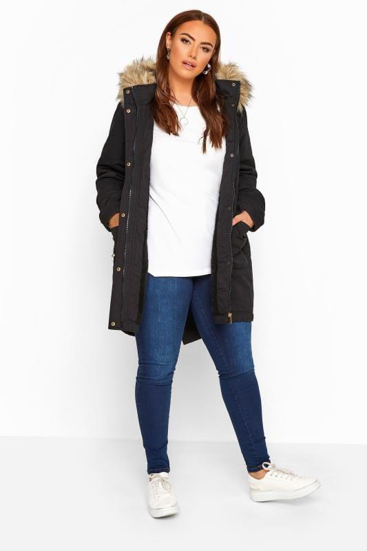 Black Fleece Lined Faux Fur Trim Parka Jacket_ecdc.jpg