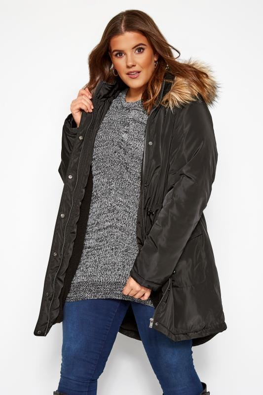 Plus Size Parka Coats Black Fleece Lined Hooded Parka