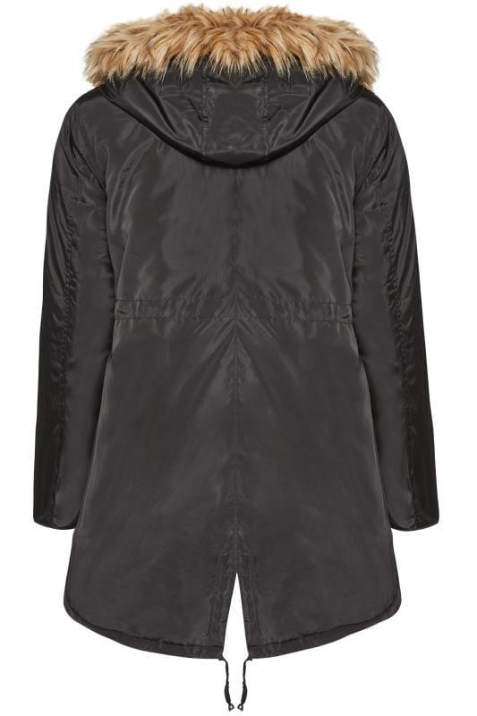 Black Fleece Lined Hooded Parka