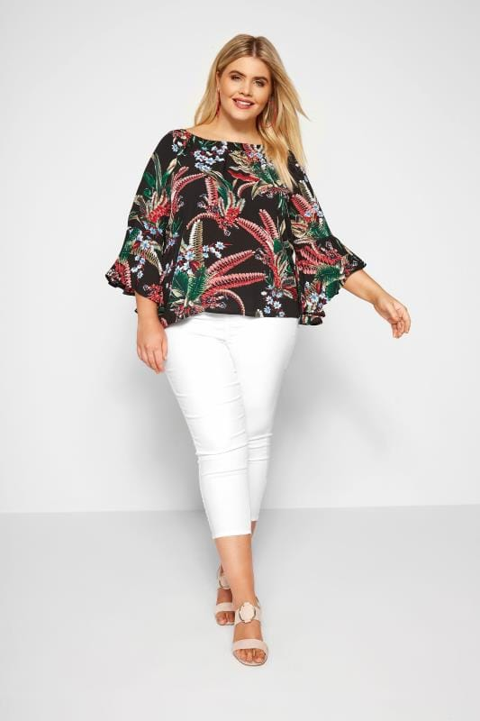 Black Floral Bardot Top With Bell Sleeves
