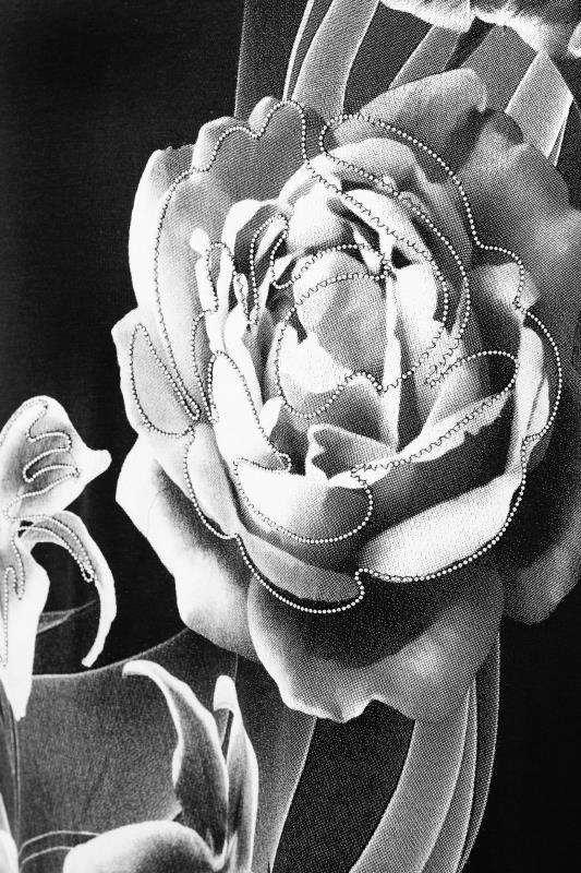 Black Floral Beaded Swing Top