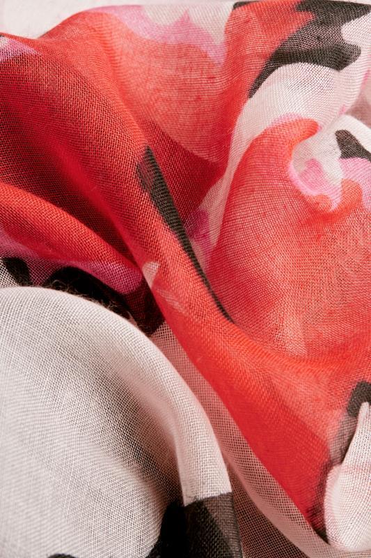 Black Floral Border Detail Scarf
