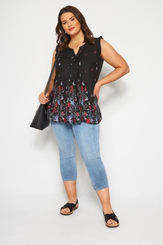 Black Floral Border Pintuck Blouse