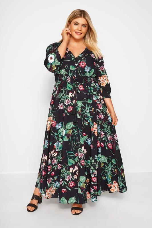 Black Floral Button Up Maxi Dress