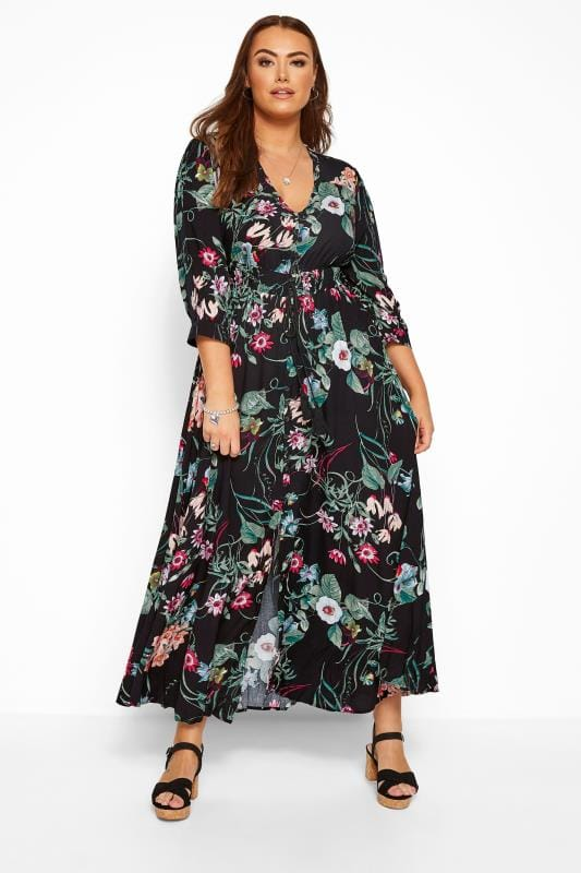 Plus Size Maxi Dresses Black Floral Button Up Maxi Dress