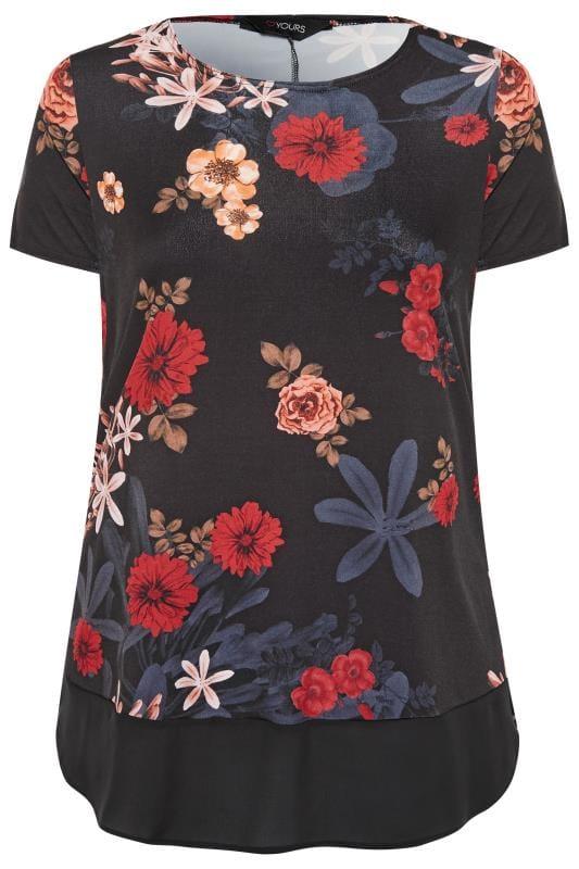 Black Floral Chiffon Hem Top