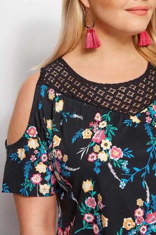 Black Floral Cold Shoulder Top