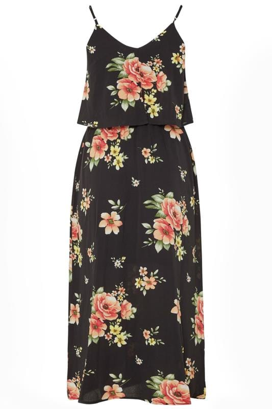 YOURS LONDON Black Floral Double Layer Maxi Dress