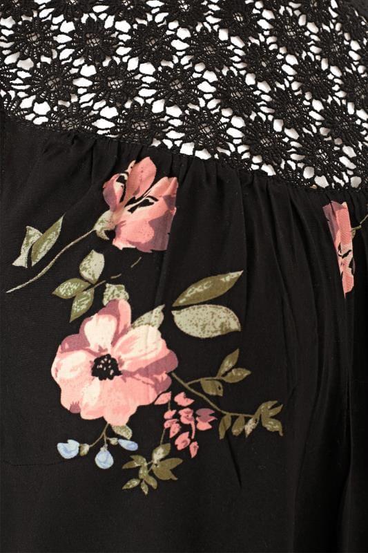 Black Floral Crochet Blouse
