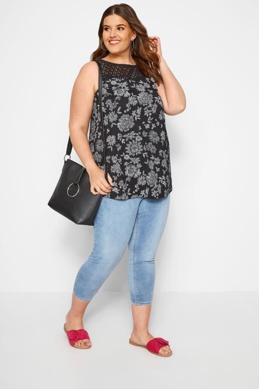 Black Floral Crochet Vest Top