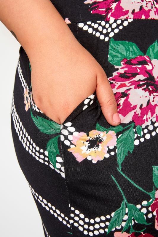 Black Floral Double Pleat Harem Trousers
