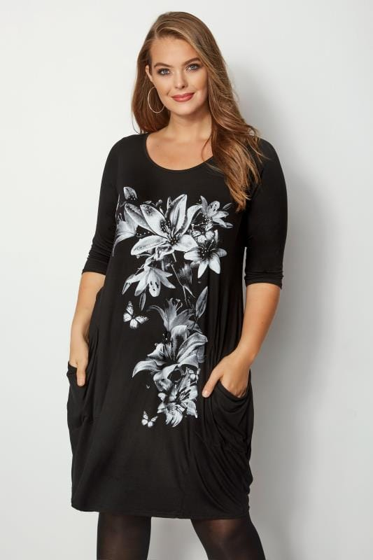 Plus Size Black Dresses Black Floral Drape Pocket Dress