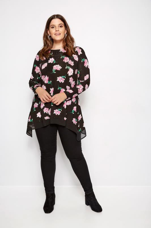 Black Floral Embellished Top With Chiffon Hem