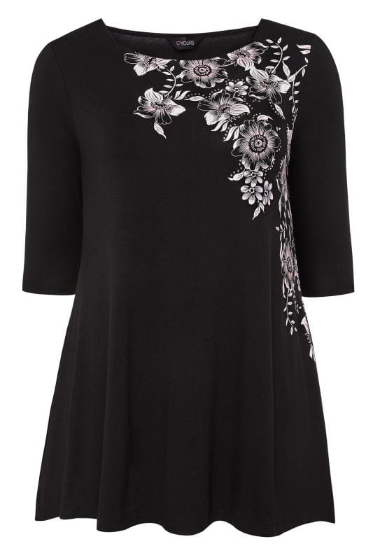 Black Floral Jersey Swing Top