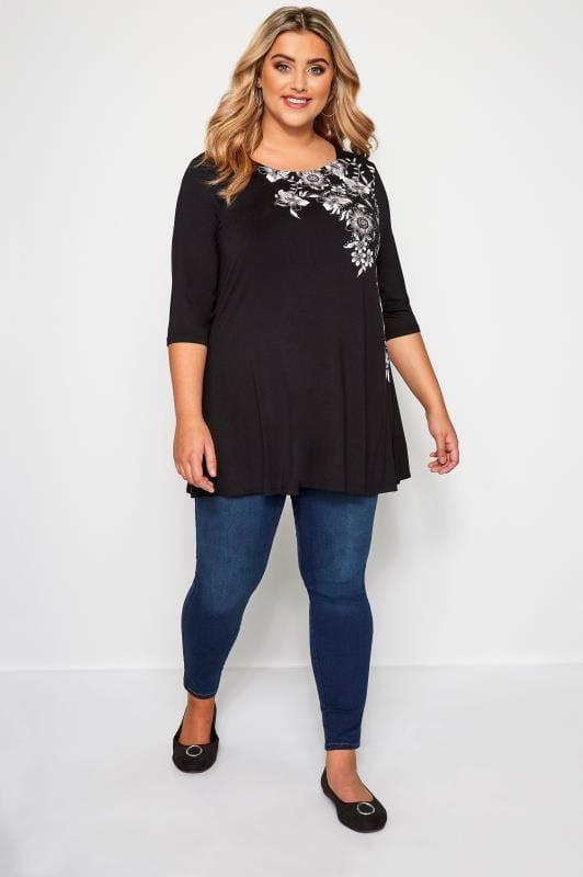 Black Floral Jersey Swing Top
