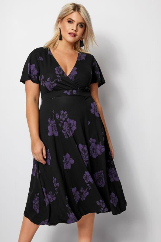 Plus Size Black Floral Wrap Midi Dress
