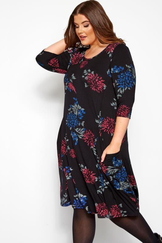 Plus Size Jersey Dresses Black Floral Jasmine Drape Pocket Dress