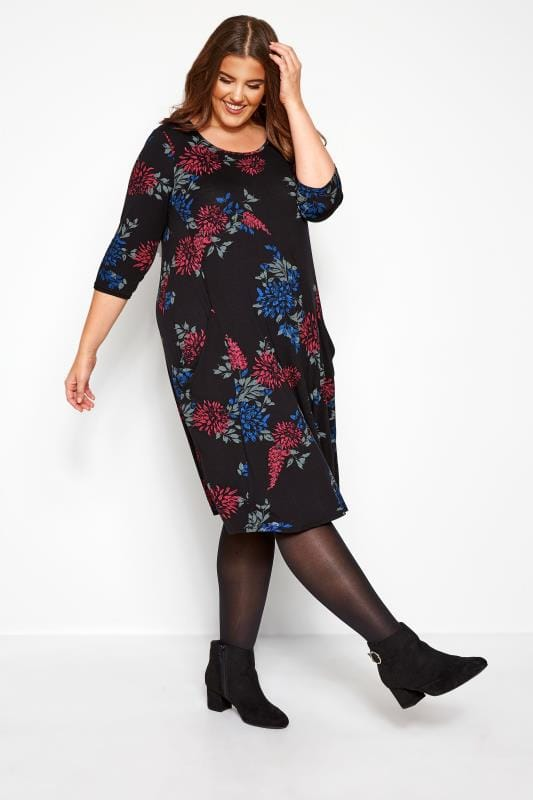 Black Floral Jasmine Drape Pocket Dress