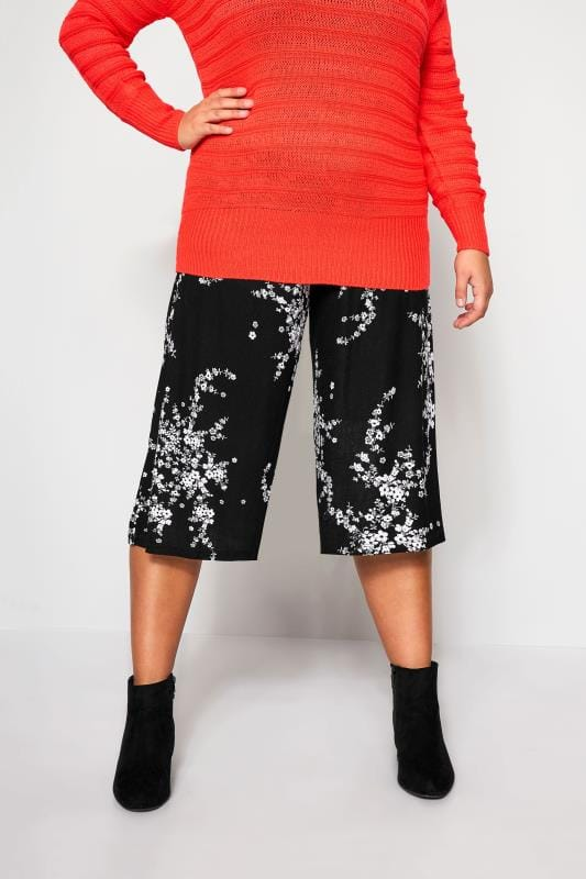 Jupes culottes Grande Taille Jupe-Culotte Noire à Fleurs