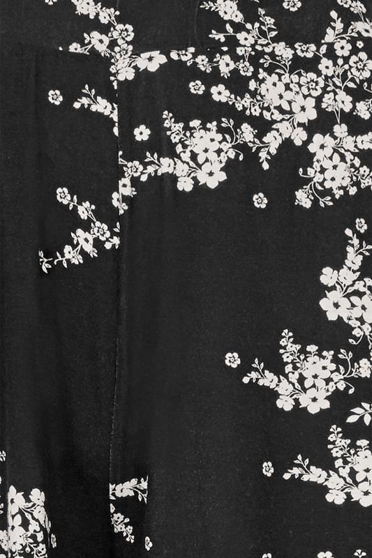 Broekrok met bloemenprint, zwart